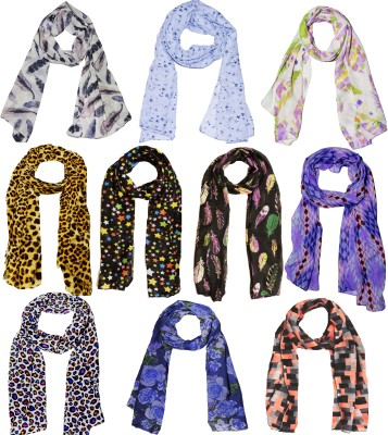 Weavers Villa Printed Set Combo of 10 Scarves Soft PolyCotton Fashion Trendy Women's Scarf