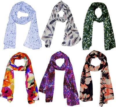 Weavers Villa Printed Set Combo of 6 Scarves Soft PolyCotton Fashion Trendy Women's Scarf