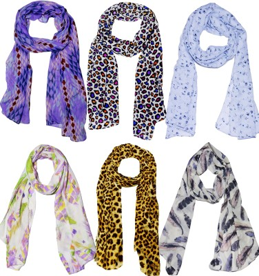Weavers Villa Printed Set Combo of 6 Scarves Soft PolyCotton Fashion Trendy Women Scarf