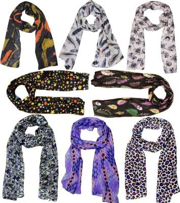 Weavers Villa Printed Set Combo of 8 Scarves Soft PolyCotton Fashion Trendy Women's Scarf