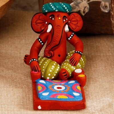 Unravel India Lord Ganesha Showpiece  -  9 cm(Terracotta, Multicolor)  available at flipkart for Rs.599