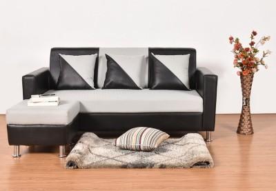Furny Oreo L Leatherette 3 Seater  Sofa(Finish Color - Black)