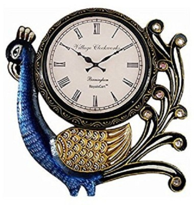 m3productions Analog 18 cm X 12 cm Wall Clock(Multicolor, With Glass)