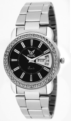 Fogg 4040-BK-CK Date And Day Analog Watch For Women