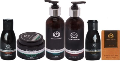 The Man Company Charcoal Grooming Kit   Packed in Elegant Wooden Gift Box   Set of 6 - Body Wash, Shampoo, Face Scrub, Face Wash, Cleansing Gel, Soap Bar(Set of)  available at flipkart for Rs.2899