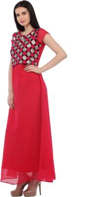 Cottinfab Women Maxi Red Dress at flipkart