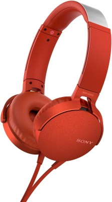 Sony XB550AP Wired Headset with Mic(Red, Over the Ear)