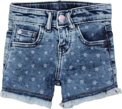 United Colors of Benetton Short For Girls Casual Printed Polycotton(Blue, Pack of 1)