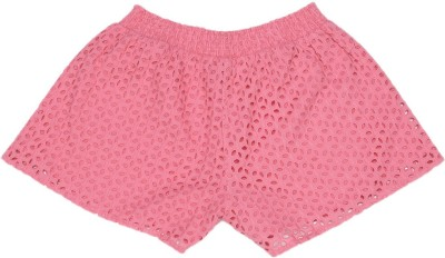 United Colors of Benetton Short For Girls Casual Solid Cotton(Pink, Pack of 1)