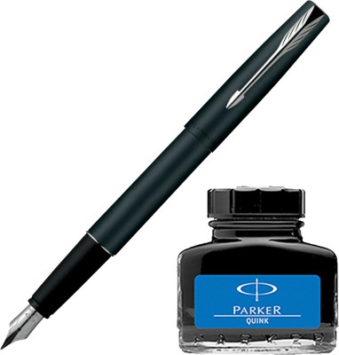 Parker Frontier Matte Black CT Fountain Pen with Blue Quink Ink Bottle(Pack of 2)  available at flipkart for Rs.635