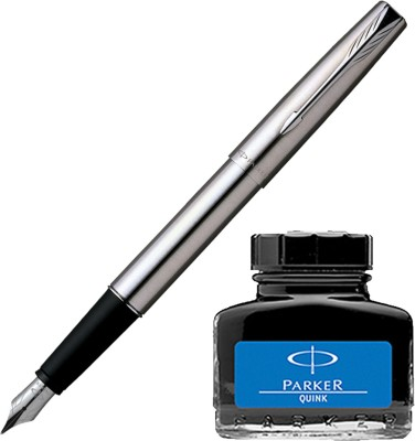 Parker Frontier Stainless Steel CT Fountain Pen with Blue Quink Ink Bottle(Pack of 2)  available at flipkart for Rs.635