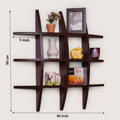 Usha Furniture Wooden Wall Shelf(Number of Shelves - 12, Brown) at flipkart