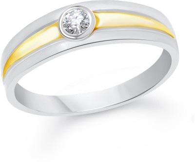 VK Jewels Simple Single Stone Alloy Cubic Zirconia 18K Yellow Gold Plated Ring