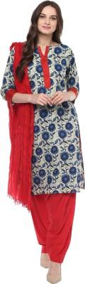 Jaipur Kurti Floral Print Kurti & Patiyala(Stitched)