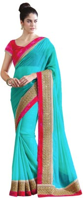 7795a2a854558 View Anshika Lifestyle Solid Bollywood Georgette Saree(Green) Price Online