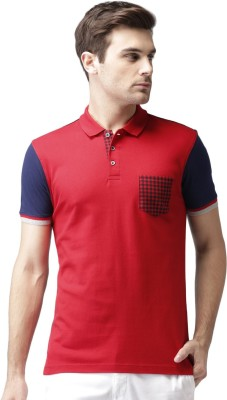 Invictus Solid Men's Polo Neck Red, Dark Blue T-Shirt