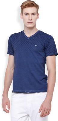 Locomotive Printed Men's V-neck Blue T-Shirt