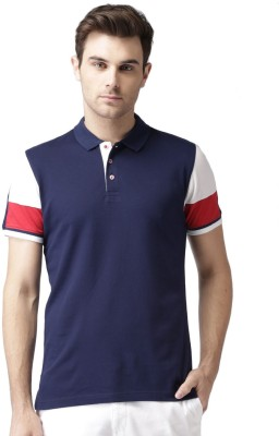 Invictus Solid Men's Polo Neck Dark Blue, Red T-Shirt
