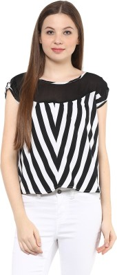 MAYRA Party Short Sleeve Striped Women Black Top MAYRA Women's Tops