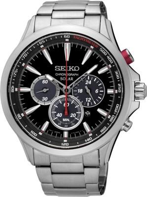 Seiko SSC493P1 Solar Analog Black Dial Men's Watch (SSC493P1)