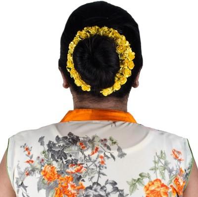 Majik Women Accessories Flowers 3D Gajra (Veni) Hair Band(Yellow)