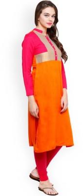 StarShop20 Festive & Party Self Design Girl's Kurti(Orange, Pink)