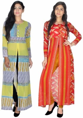 StarShop20 Festive & Party Striped, Geometric Print Girl's Kurti(Multicolor)