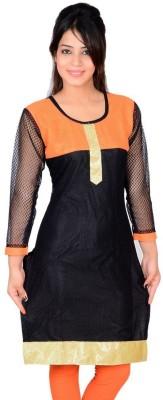 StarShop20 Festive & Party Self Design Girl's Kurti(Orange, Black)