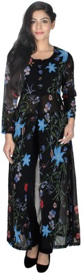 StarShop20 Festive & Party Floral Print Girl's Kurti(Light Blue, Black)