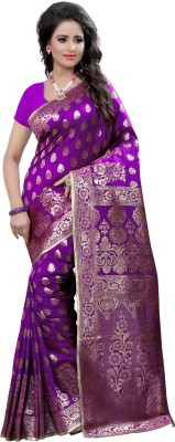 The Fashion Outlets Self Design, Solid Coimbatore Silk Cotton Blend, Jacquard Saree(Purple)