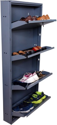Clever Steel Shoe Stand(Grey, 4 Shelves)