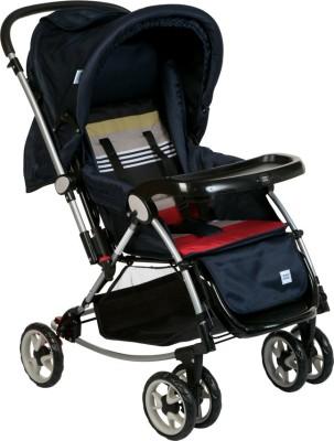 MeeMee Premium Baby Pram with Rocker Function, Rotating Wheels & Adjustable Seat_Black Pram(3, Black)