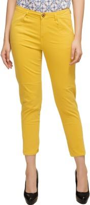 Kotty Slim Fit Women Yellow Trousers at flipkart