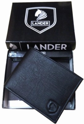 LANDER Men Black Artificial Leather Wallet 4 Card Slots