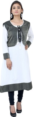 Anekaant Casual Solid Women Kurti(White, Black)