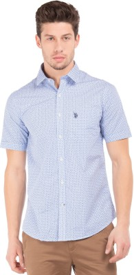 U.S. Polo Assn Men Printed Casual Blue Shirt at flipkart