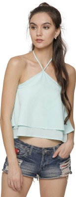 Marzeni Casual Sleeveless Solid Women Light Blue Top Marzeni Women's Tops