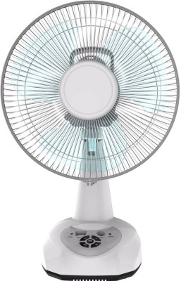 Montex AC/DC 12'' Rechargeable 3 Blade Table Fan(White)  available at flipkart for Rs.2550