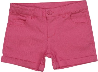 United Colors of Benetton Short For Girls Casual Solid Polycotton(Pink, Pack of 1)