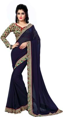 Oomph! Printed Bollywood Chiffon Saree(Blue)