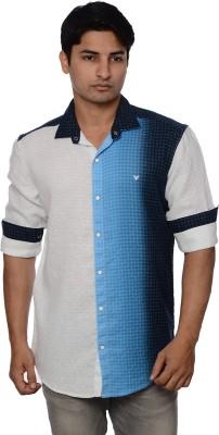 Blue Tonic Men's Printed Casual Blue Shirt