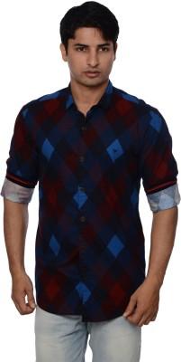 Blue Tonic Men's Checkered Casual Blue Shirt