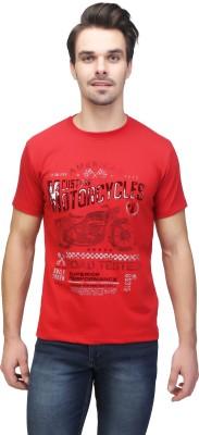 Be-Beu Printed Men's Round Neck Red T-Shirt at flipkart