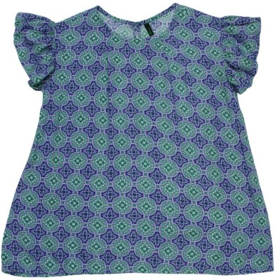 United Colors of Benetton Baby Girls Casual Cotton Viscose Blend Top(Blue, Pack of 1) at flipkart