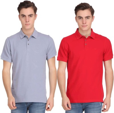 Smokestack Solid Men's Polo Neck Red, Blue T-Shirt(Pack of 2) at flipkart
