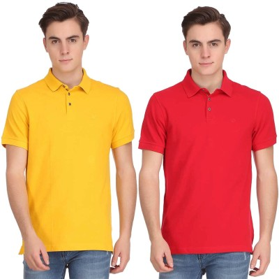 Smokestack Solid Men's Polo Neck Red, Yellow T-Shirt(Pack of 2) at flipkart