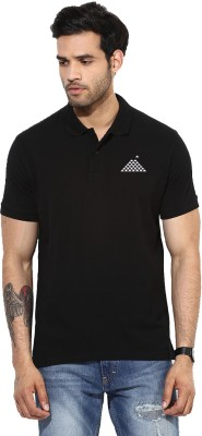 First Row Solid Men's Polo Neck Black T-Shirt