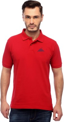 First Row Solid Men's Polo Neck Red T-Shirt