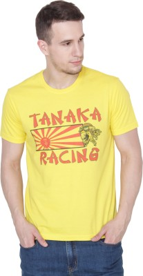 Mimic Printed Men's Round Neck Yellow T-Shirt
