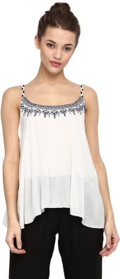 Miway Casual Sleeveless Solid Women White Top